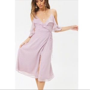 Dusty Lavender Cold Shoulder Ruffle Dress
